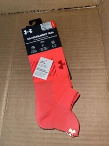 Under Armour Mens ArmourDry Run No Show Socks Red Sports Running L 9-12.5