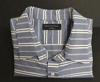 Banana Republic Button Front Shirt Short Sleeve Horizonal Stripe Size XL