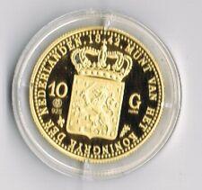 ZILVEREN PROOF replica- 10 GULDEN GOUD 1842 in capsule + certificaat