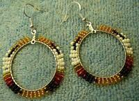 Eagle Feathers Beaded Hoop Sterling Silver Earrings - Native American Indian