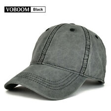 Vintage Mens Trucker Hat Baseball Cap Solid Cotton Distressed Snapback Black