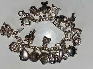 SUPERB LARGE STERLING SILVER CHARM BRACELET WITH MANY CHARMS