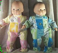 """Doll Clothes Baby Girl fits  15"""" inch Bitty Twins Footed Pajamas A B C's Boy"""