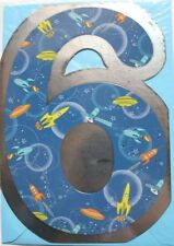 suitable for male or female spaceships theme Today you/'re 6 Birthday card new
