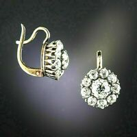 2.38Ct Round Cut Diamond Antique Flower Drop/Dangle Earrings 14k Gold Finish