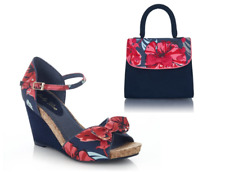 Ruby Shoo Molly Coral Sandals High Wedge Heel Occasional Causal OR Santiago Bag