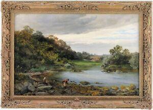 Children in a River Landscape Antique Oil Painting by David Bates (1840-1921)