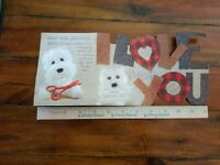 Vintage Father's Day Card Daddy Die Cut White Puppy Dog From your Daughter CUTE