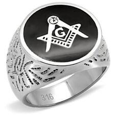 Masonic Stainless Steel 316L Men's Mason Lodge Ring. High Polish