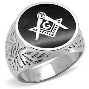 Masonic Stainless Steel 316L Men's Mason Lodge Ring. High Polish 13