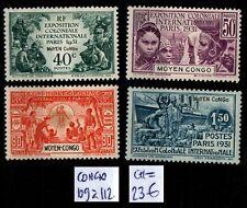 CONGO : Série 109 à 112, Neufs * = Cote 23 € / Lot COLONIES France