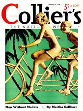 MAGAZINE COVER COLLIER TANDEM BICYCLE PALM TREE USA ART PRINT POSTER BB7945