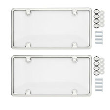 2x Clear Tag License Plate Shield Cover and Frame Truck Car