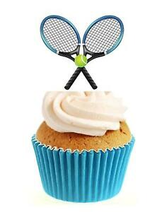 Tennis Rackets & Ball 12 Edible Stand Up wafer paper cake toppers wimbledon
