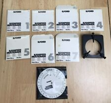Vintage Ilford Ilfospeed Multigrade 3x3 Filter Set 1 - 7, Calculator & Holder