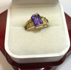 14k Yellow Gold 2 Ct Multi Gemstone Amethyst Blue Topaz Peridot Garnet Ring 6