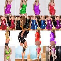 HOT Sexy Women Wet Look Shiny Metallic Mini Dress Clubwear Party Bodycon