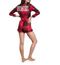Victorias Secret PINK Plaid Cozy Sleep Romper Pajama shorts one piece thermal S