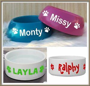Personalized Custom Name Pet Cat Food Dog Water Bowl Dish  Design Sticker x 2