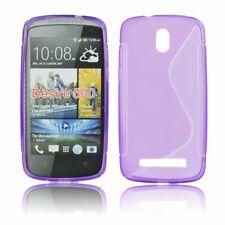 Purple S Line Wave Gel Case Cover Back Skin for HTC Desire 500