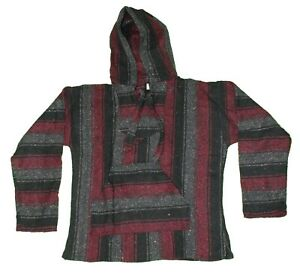 LARGE Mexican BAJA HOODIE - Burgundy/Gray/Black - Mexican PONCHO Sweater Surfer