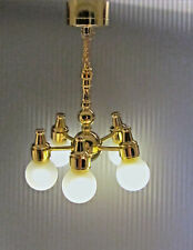 Dollhouse Miniature Battery Operated 5 Arm Chandelier with 5 Globes