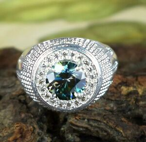 4.02 Ct 925 Silver Green Diamond Solitaire Men's Engagement Ring