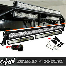 "STRAIGHT 52""INCH ROOF LED LIGHT BAR + 2x 22"" INCH COMBO FIT 1992-2006 Hummer H1"