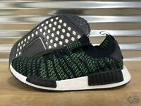 Adidas NMD R1 STLT Primeknit Running Shoes Green Black SZ ( AQ0936 )