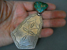 """Royston turquoise sterling silver pendant 4 1/2"""" signed  36 grams"""
