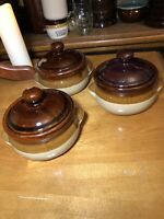 Antique Primitive Stoneware Bean Crock 2 Tone Brown glaze W Lid - Set Of 3