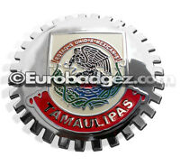 1- NEW Chrome Front Grill Badge Mexican Flag Spanish MEXICO MEDALLION TAMAULIPAS
