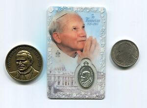 Pope Saint John Paul II Memorial Package - 3 Items Prayer card and Medals