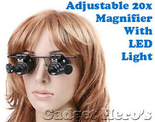 20X Magnifier Magnifying Magnification LED Light Glass Loupe Lens For Repairers