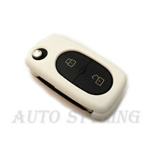 BIANCO COVER CHIAVE PER VW 2 Bottoni Caso Fob remoto PROTECTOR BAG AUTO OVALE ROUND 42W