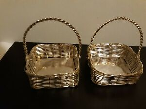 Small Square SILVER PLATED BASKETS(2) w/Rope Handles Wedding Shower Party Favor