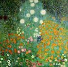 Stretched Gustav Klimt Farm Garden Repro, 100% Hand Painted Oil Painting 36x36in