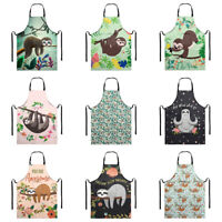 Funny Sloth Design Apron with Pocket for Women Cooking Kitchen Bib BBQ Aprons