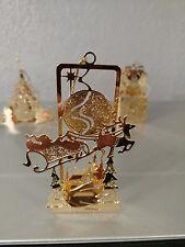 Vntg. '86 Danbury Mint Gold Electroplate Christmas Ornament 'Santa By Moonlight'