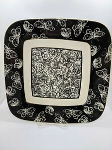 Mud Pie Square Black & White Toile Plate Tray Butterfly & Flowers