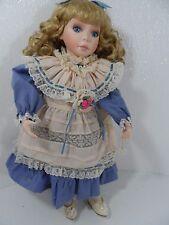 "Beautiful Blonde Porcelain Doll w/Blue/Peach Dress 16"" Tall by Lenox -Vgc"