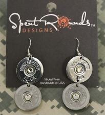 Spent Rounds Designs Silver 12 GA Winchester Double Earrings 12ddswinwcc