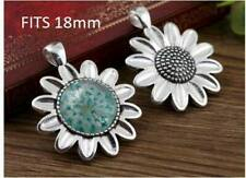 3x Antique silver round cabochon flower pendant setting fits 18mm