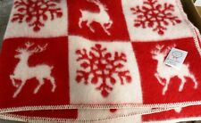 Lana & Lino Wolle Xmas Rentier Decke Rot & Weiß-Lillunn Norwegen KLIPPAN