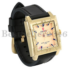 Big Square Face Analog Date Calendar Business Men Quartz Watch with Leather Band