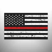 Thin Red Line American Flag NON Reflective Auto Decal Firefighter Sticker