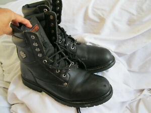 HARLEY -DAVIDSON MENS BLACK LEATHER STEEL TOE MID CALF BOOTS, SIZE 16D