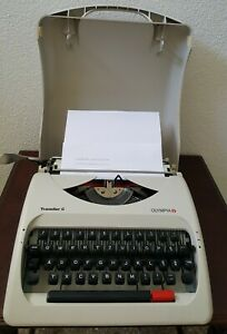 Vintage Olympia Traveller C Manual Typewriter White with Hard Plastic Case 1990s