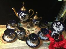 Vintage Gold & Cobalt Blue Tea Set Florentine Hand Made In Italy 17 Pieces