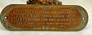 Antique Copper Plaque Golf Ball Washing Station 1862 Wall Hanging Sign Plate